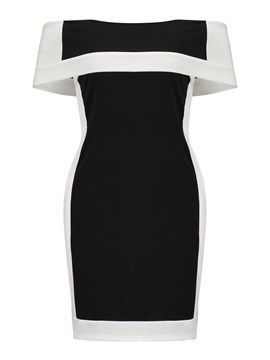 Ericdress Color Block Off-The-Shoulder Pullover Bodycon Dress