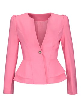 One Button Peplum Wave Cut Women's Blazer