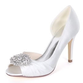 Ericdress Rhinestone Peep Toe Stiletto Heel Wedding Shoes