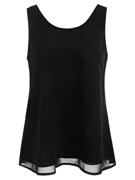 Ericdress Plain Solid Color Patchwork Womens Vest