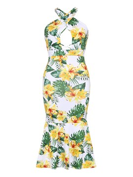 Ericdress Floral Halter Hollow Backless Sexy Bodycon Dress