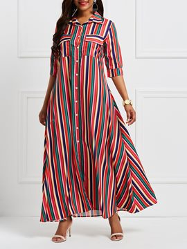 Ericdress Polo Neck Patchwork Pocket Stripe Maxi Dress