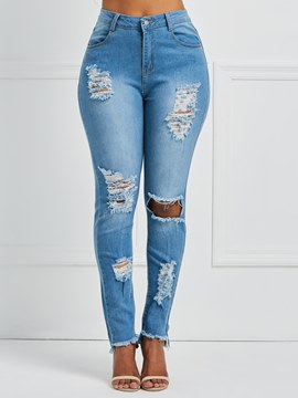 Ericdress Washable Ripped Skinny Women's Jeans