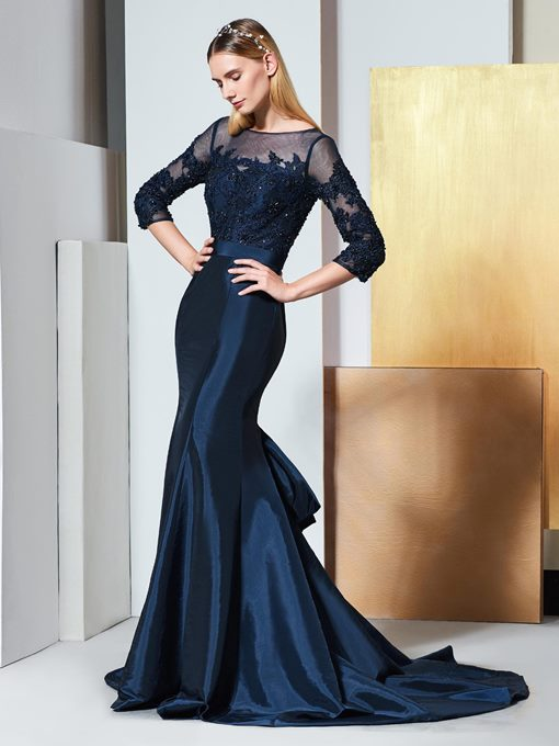 Ericdress Beading 3/4 Length Sleeves Mermaid Evening Dress