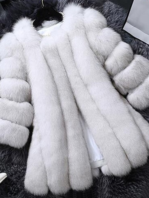 Ericdress Plain Mid-Length Faux Fur Coat