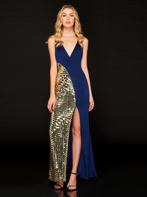 Ericdress Sexy V Neck Split-Front Backless Evening Dress