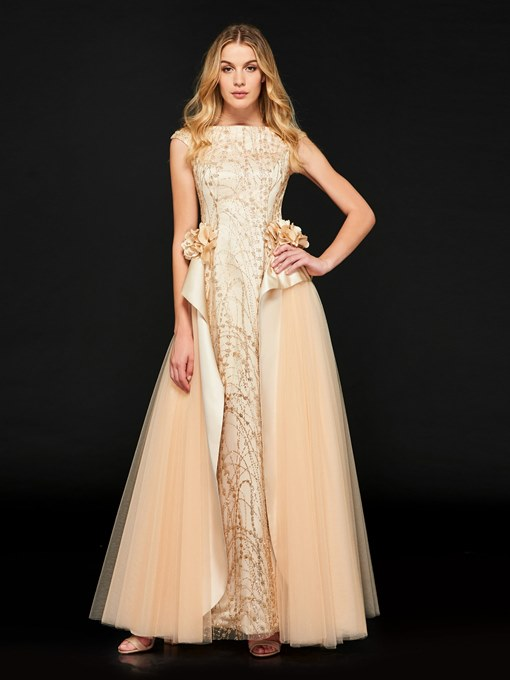 Ericdress A Line Cap Sleeve Sequin Evening Dress