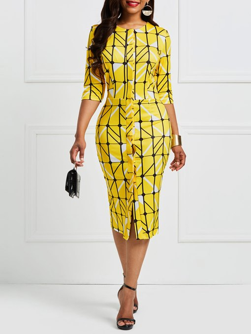 Ericdress Yellow Plaid Color Block Pullover Bodycon Dress