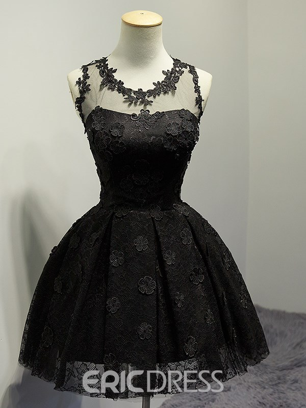 Ericdress A Line Short Black Lace Homecoming Dress