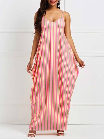 Ericdress Yellow Stripe Color Block Backless Maxi Dress