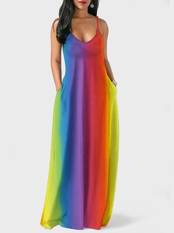 Ericdress V-Neck Rainbow Western Beach Look Maxi Dress