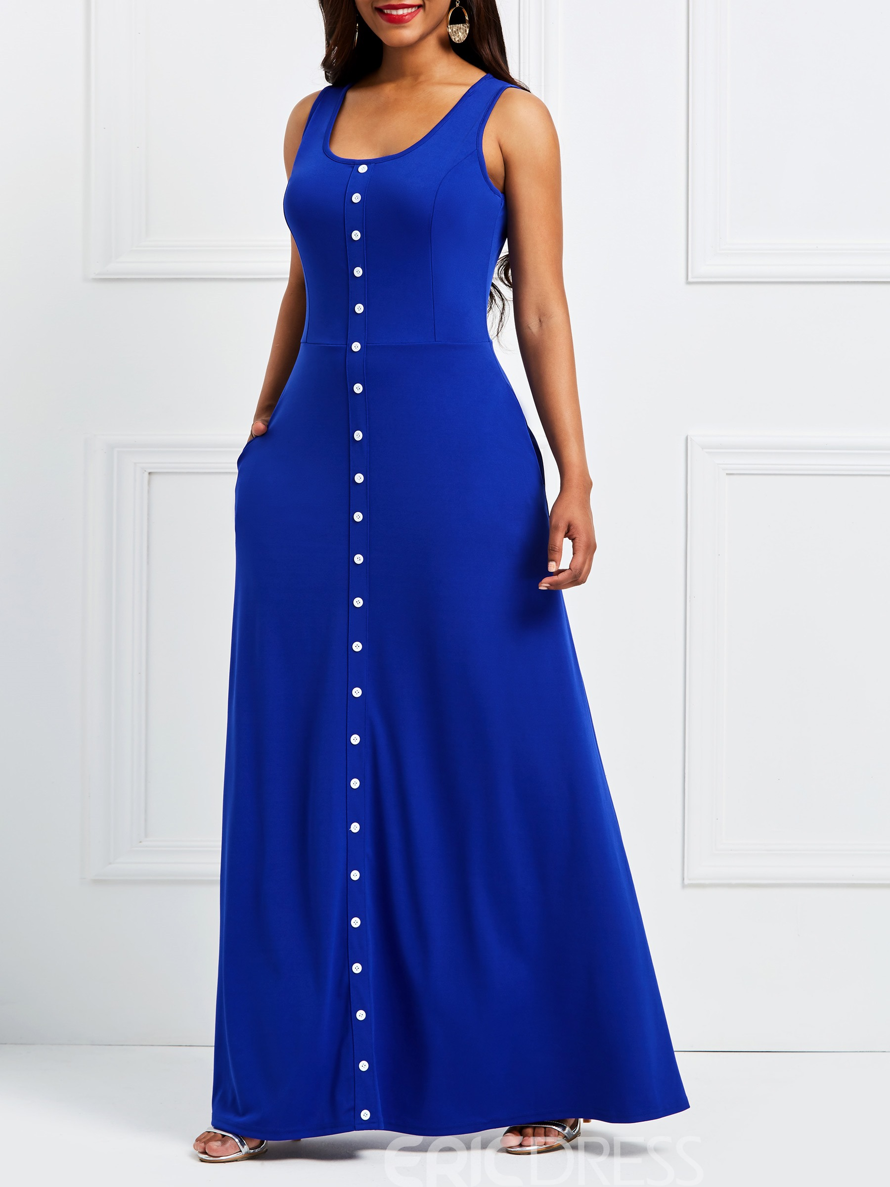 Ericdress Single-Breasted Button-Up Sleeveless Maxi Dress