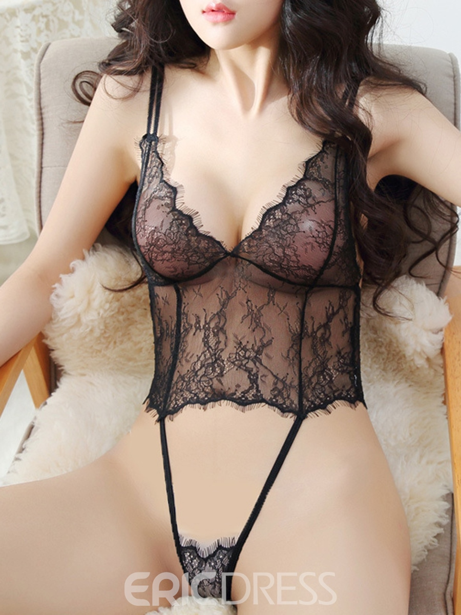 Eridress Sexy Hollow Out See Through Tight Wrap Lace Teddy Bodysuit