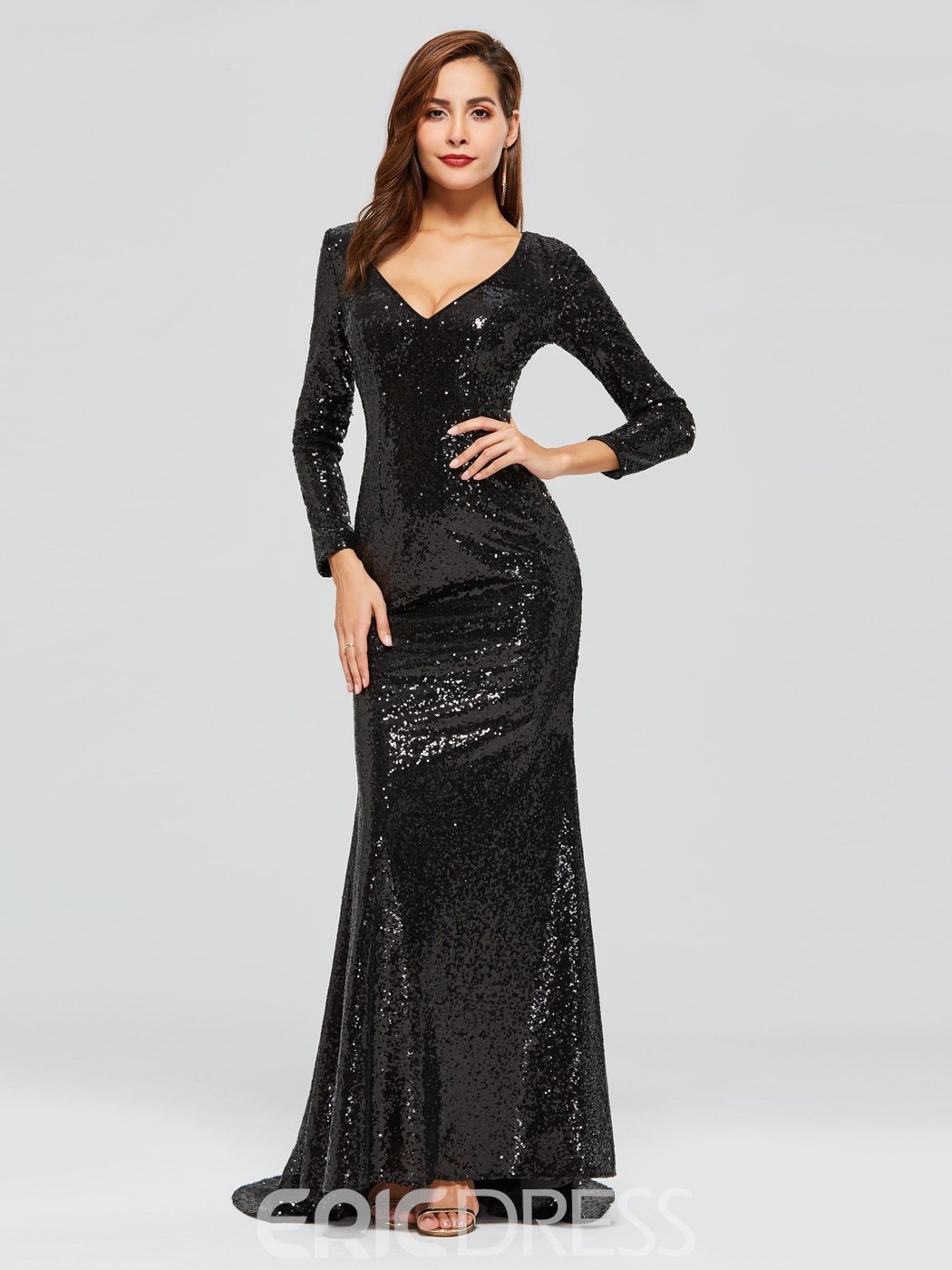 Ericdress Long Sleeve Black Sequins Evening Dress
