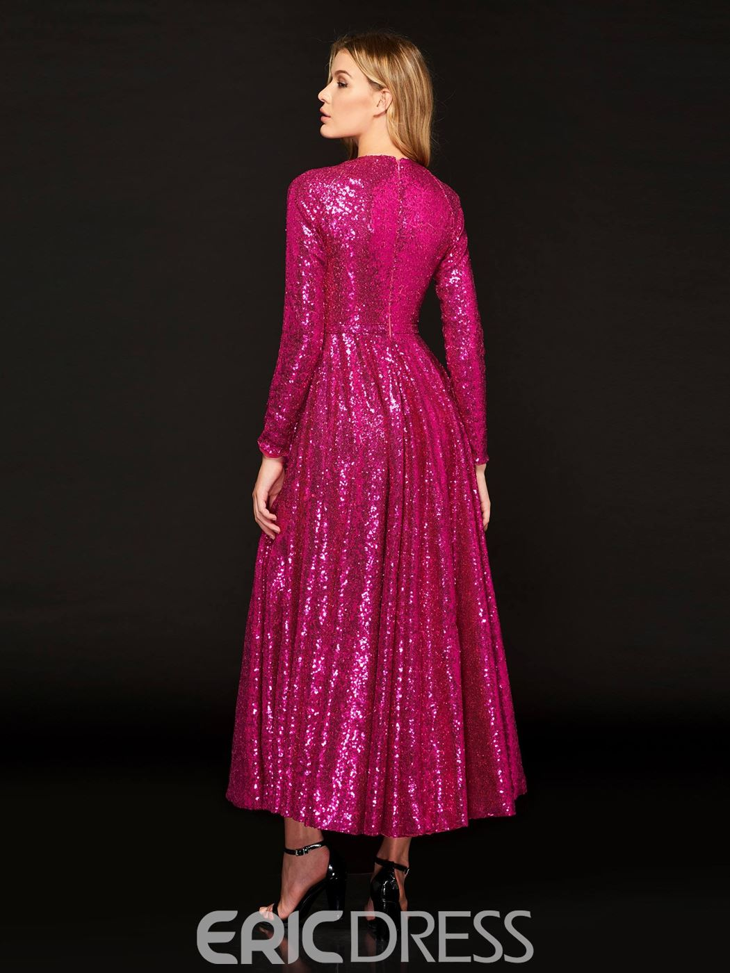 2bc9798598902 Ericdress A Line Long Sleeve Sequin Reflective Prom Dress 13324989 ...