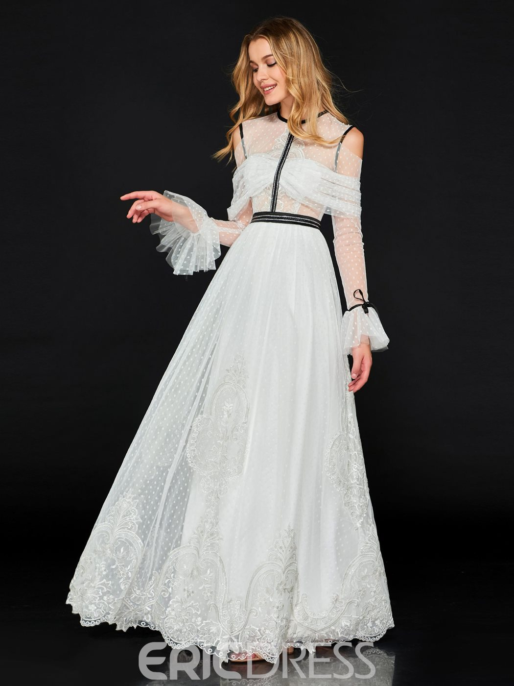 Ericdress A Line Long Sleeve Lace Prom Dress