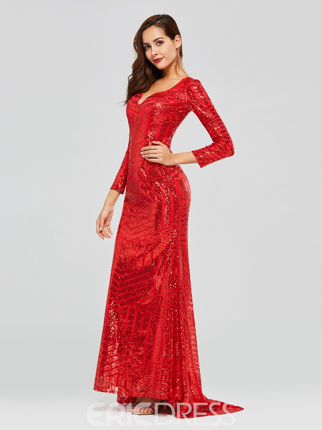 Ericdress Long Sleeve Mermaid Red Sequins Evening Dress