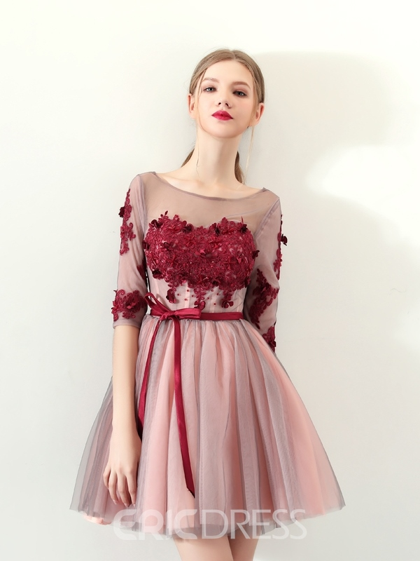 Ericdress A-Line Appliques Bowknot Sashes Homecoming Dress
