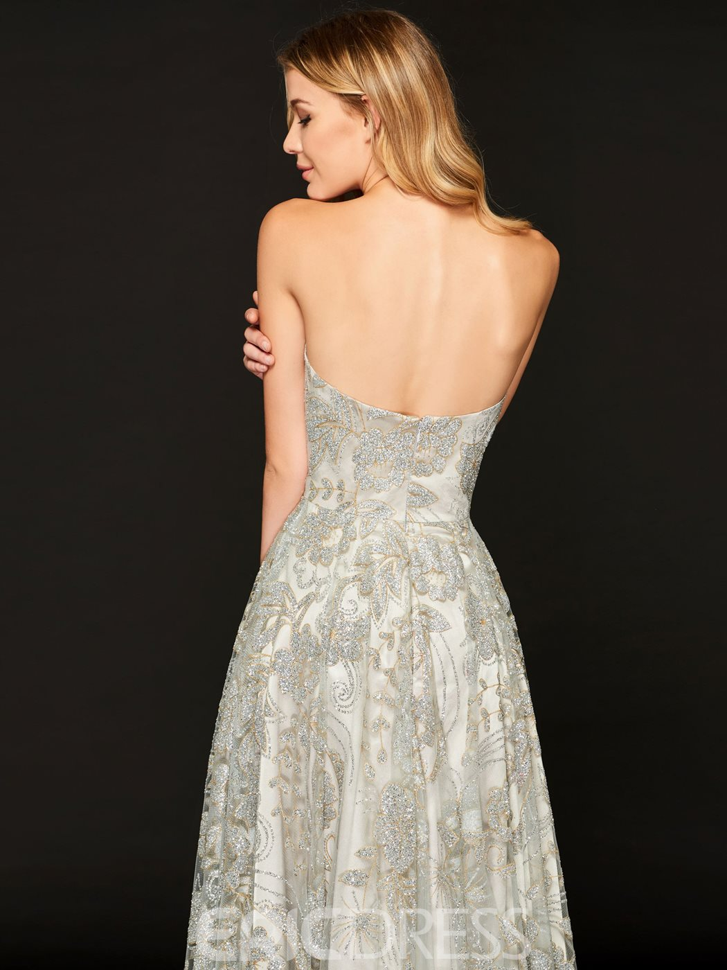 Ericdress Strapless A Line Tea Length Lace Cocktail Dress