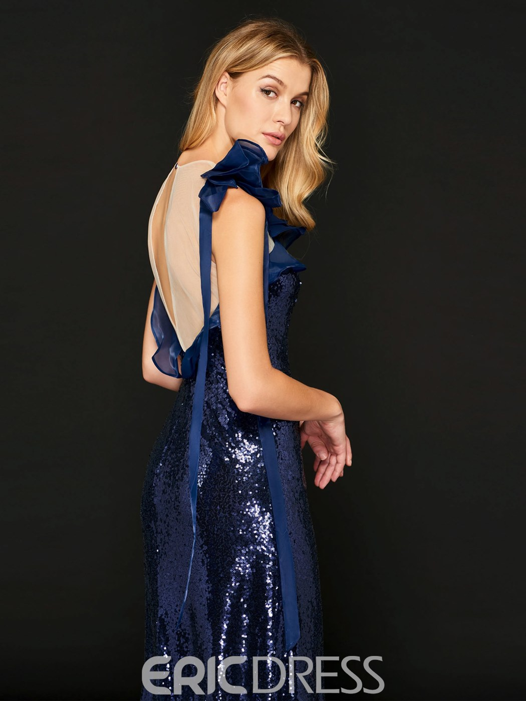Ericdress Sheath Scoop Neck Sequin Evening Dress