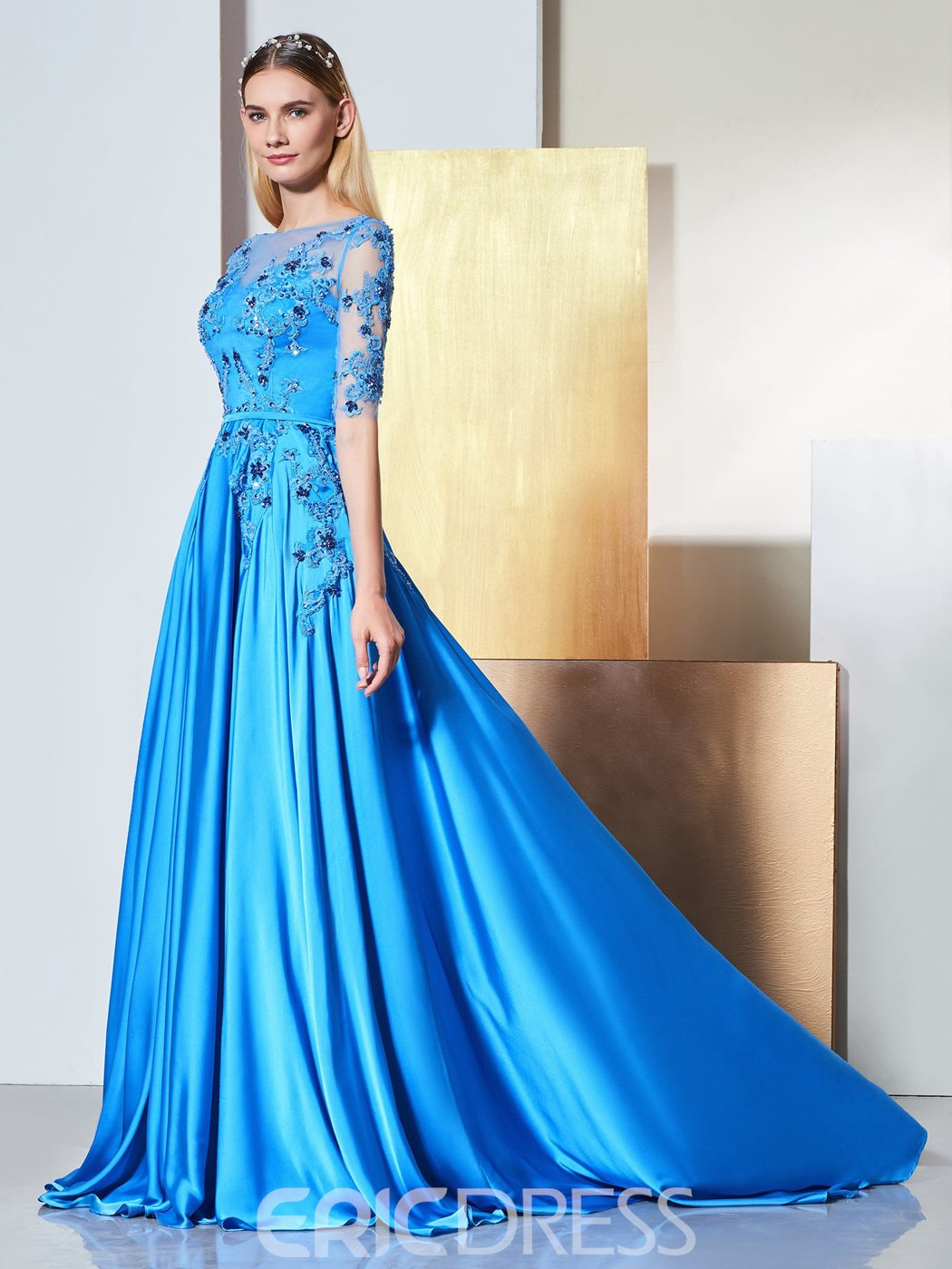 Ericdress A Line Applique Long Evening Dress With Half Sleeve