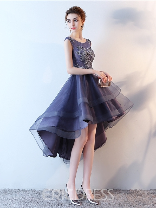 Ericdress A-Line Appliques High Low Lace Homecoming Dress