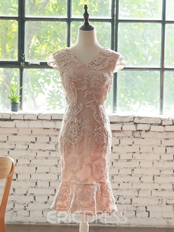 Ericdress Sheath V Neck Lace Bodycon Homecoming Dress
