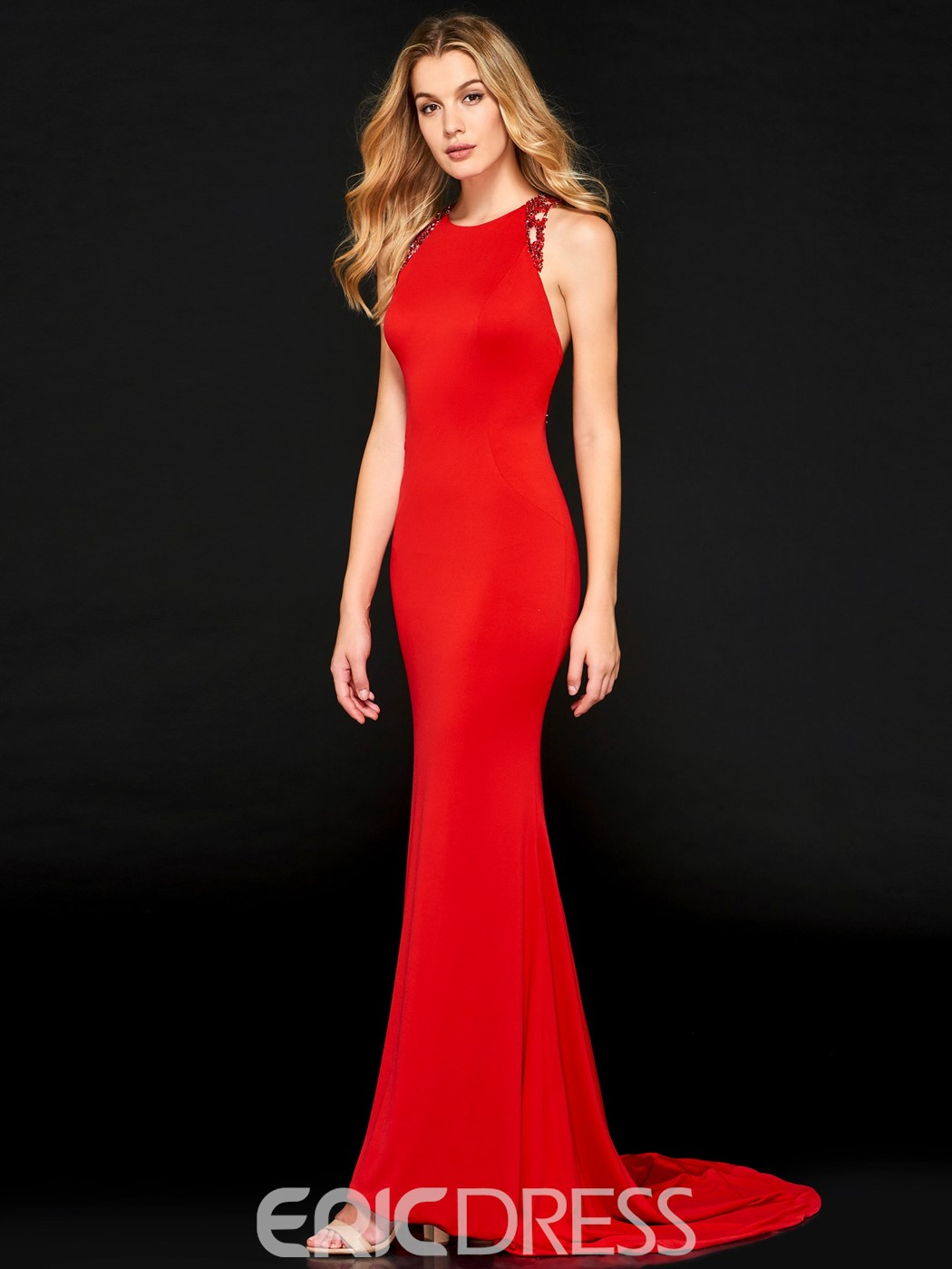 Ericdress Mermaid Red Evening Dress With Beadings