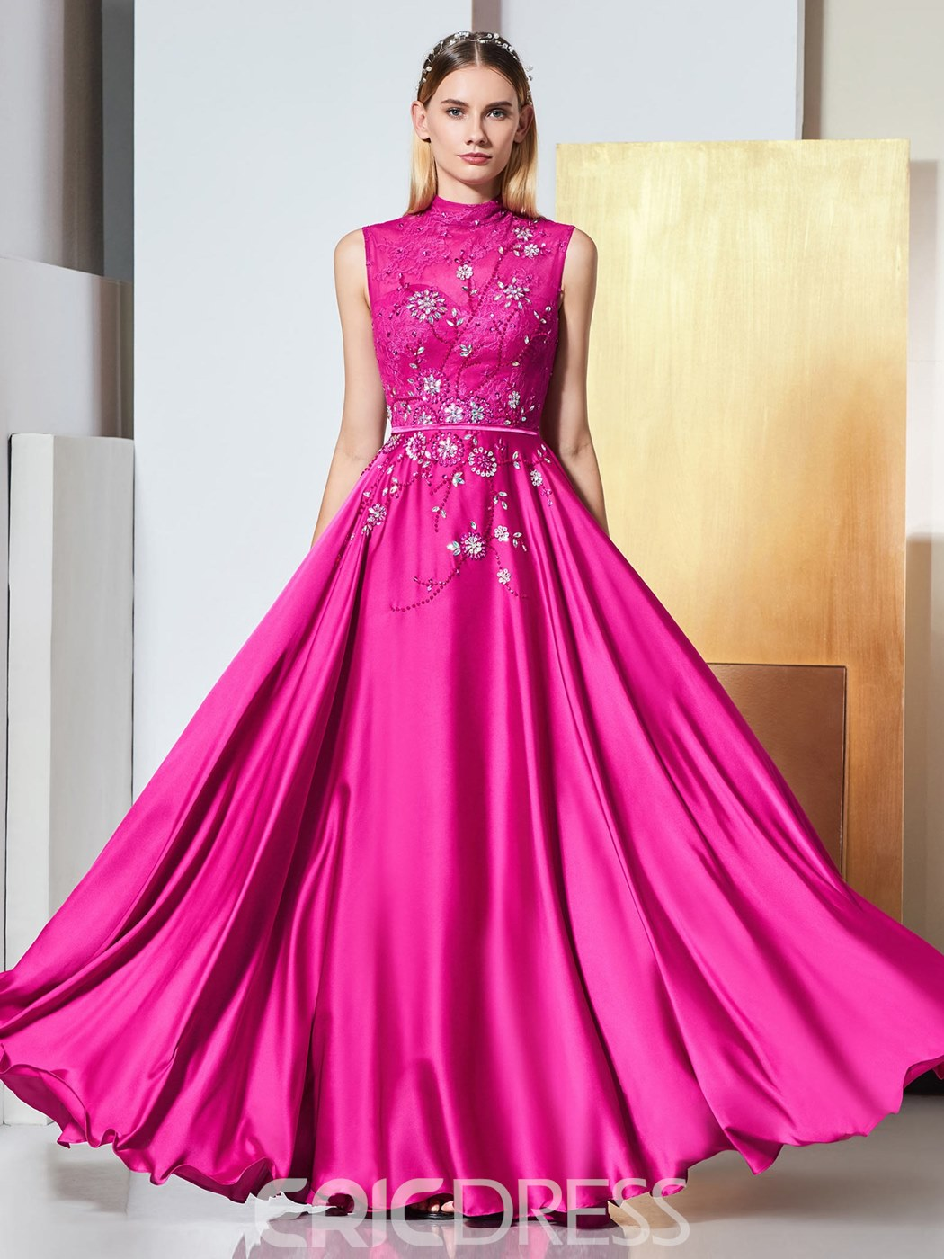 Ericdress A Line High Neck Applique Long Evening Dress