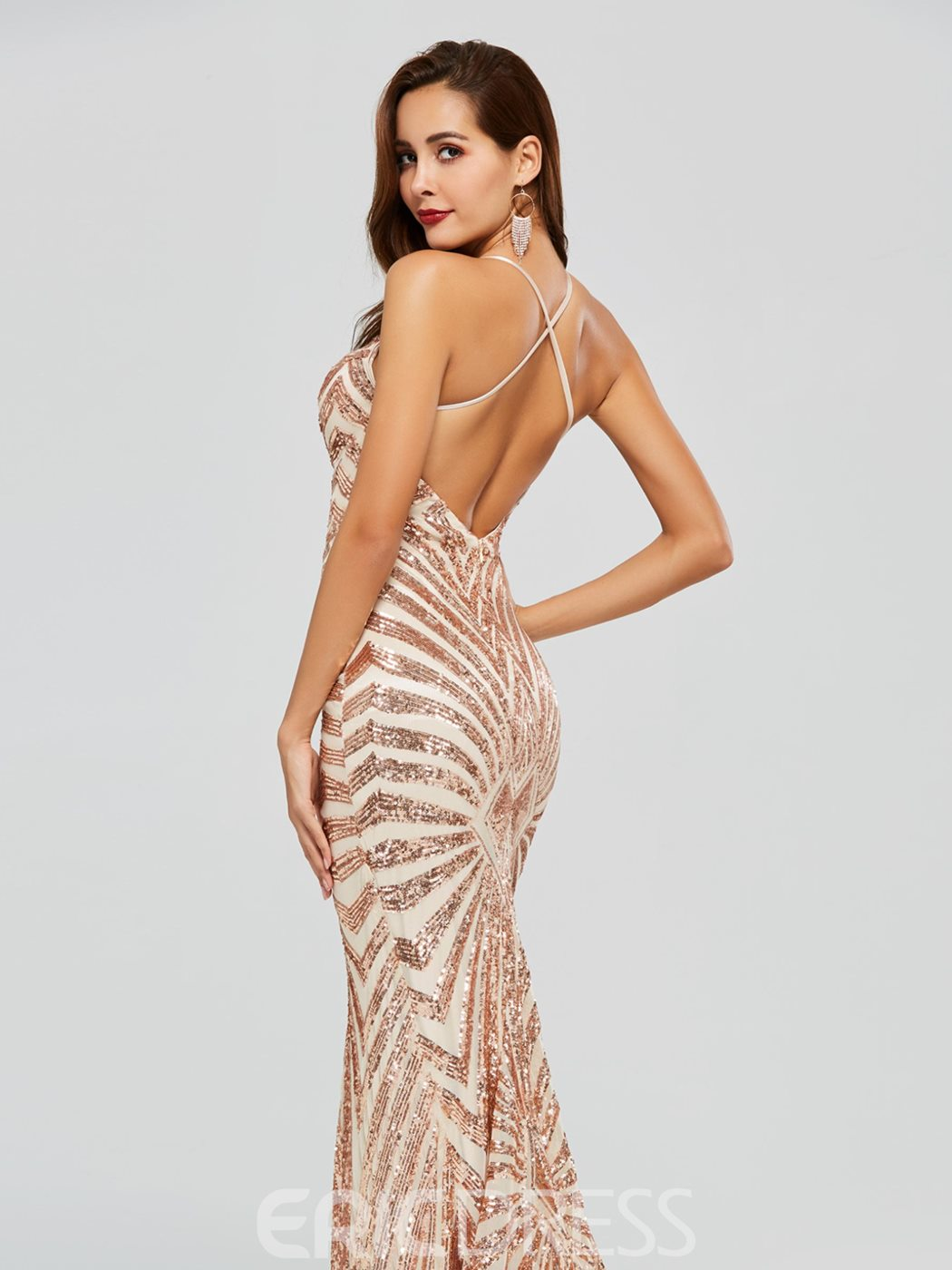 Ericdress Halter Sequin Backless Mermaid Evening Dress