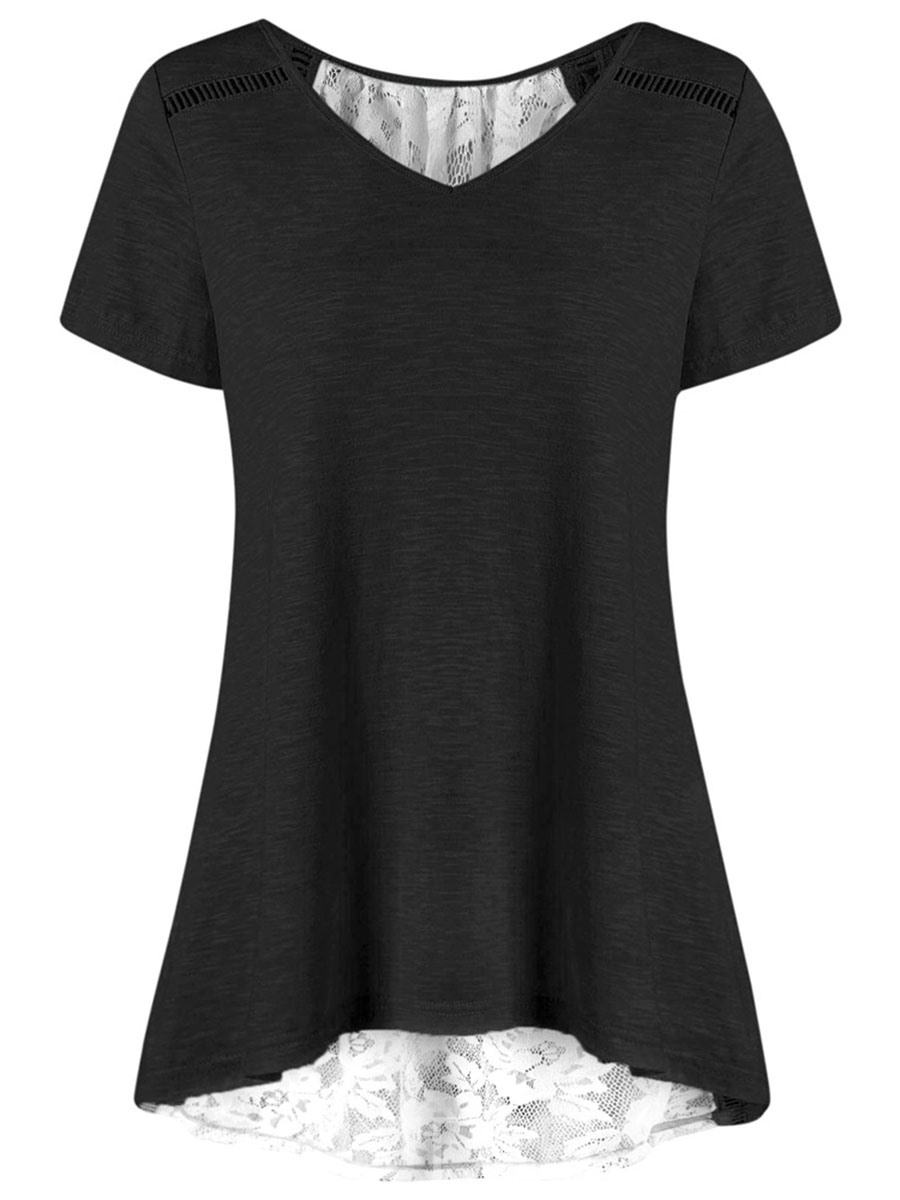Ericdress Lace Notch-V Short Sleeve Loose Womens T Shirt
