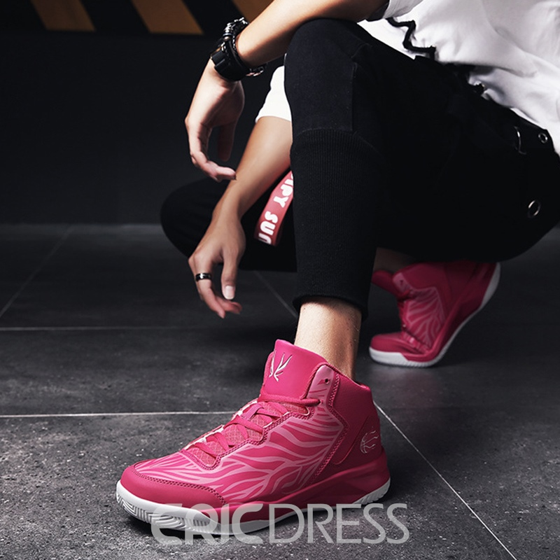 Ericdress Print Stripe Lace-Up High-Cut Men's Sneakers