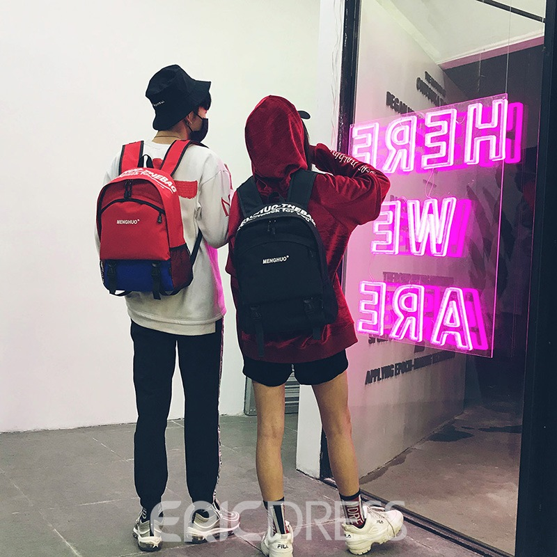 Ericdress Oxford Letter Casual Zipper Unisex Backpack