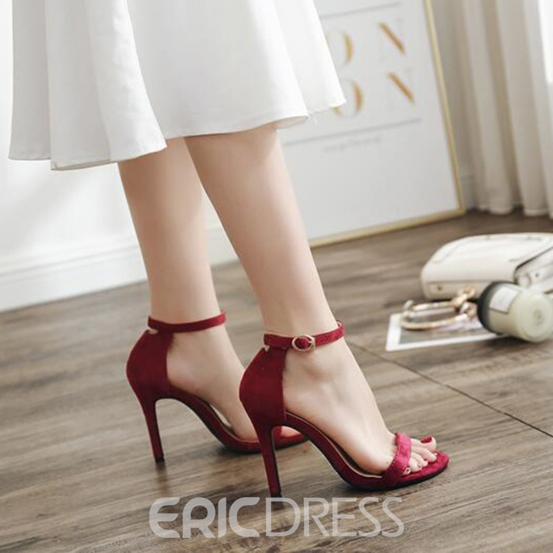Ericdress Suede Line-Style Buckle Stiletto Sandals