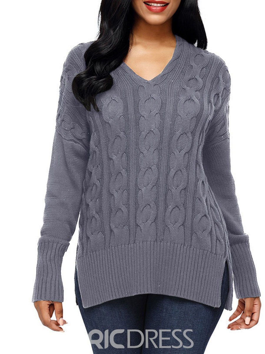 Ericdress Loose Single Thread Long Sleeves Cable Sweater