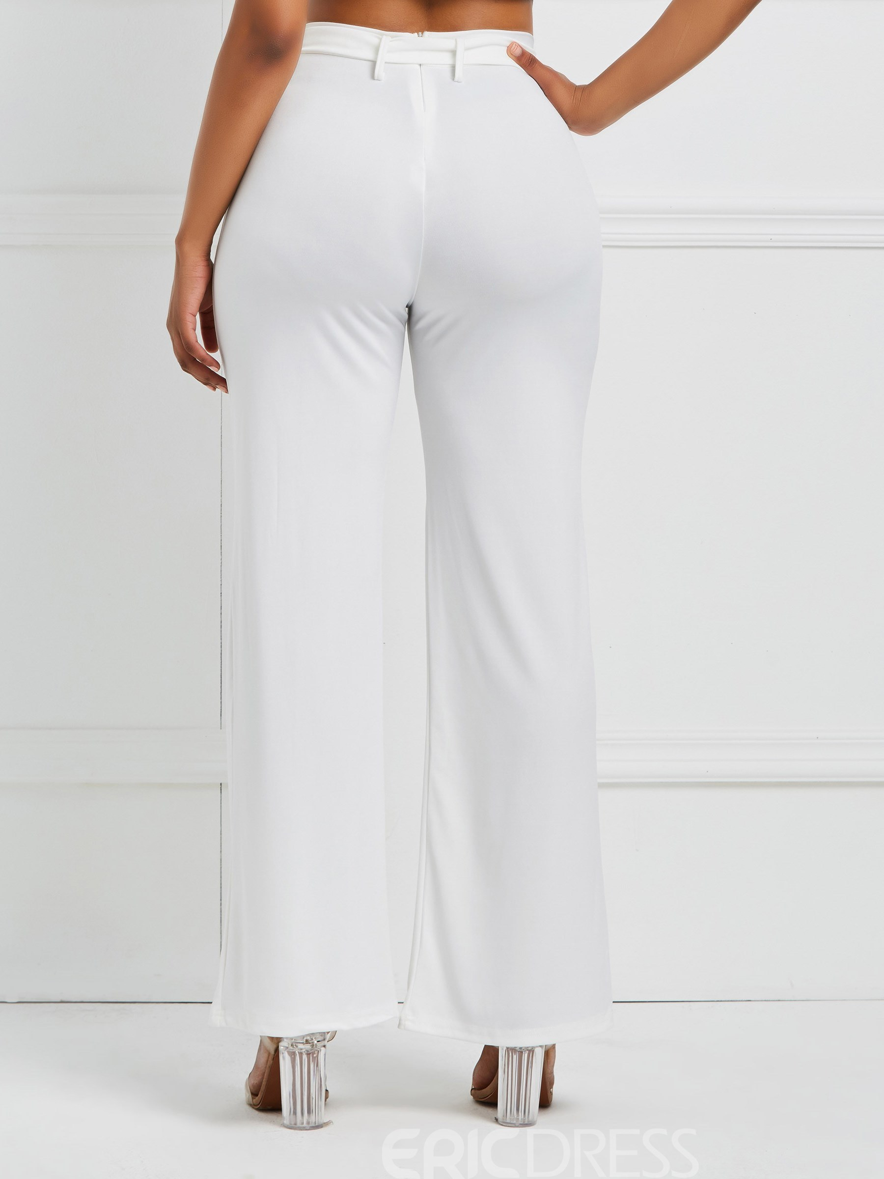 Ericdress Plain Belt Women's Casual Pants