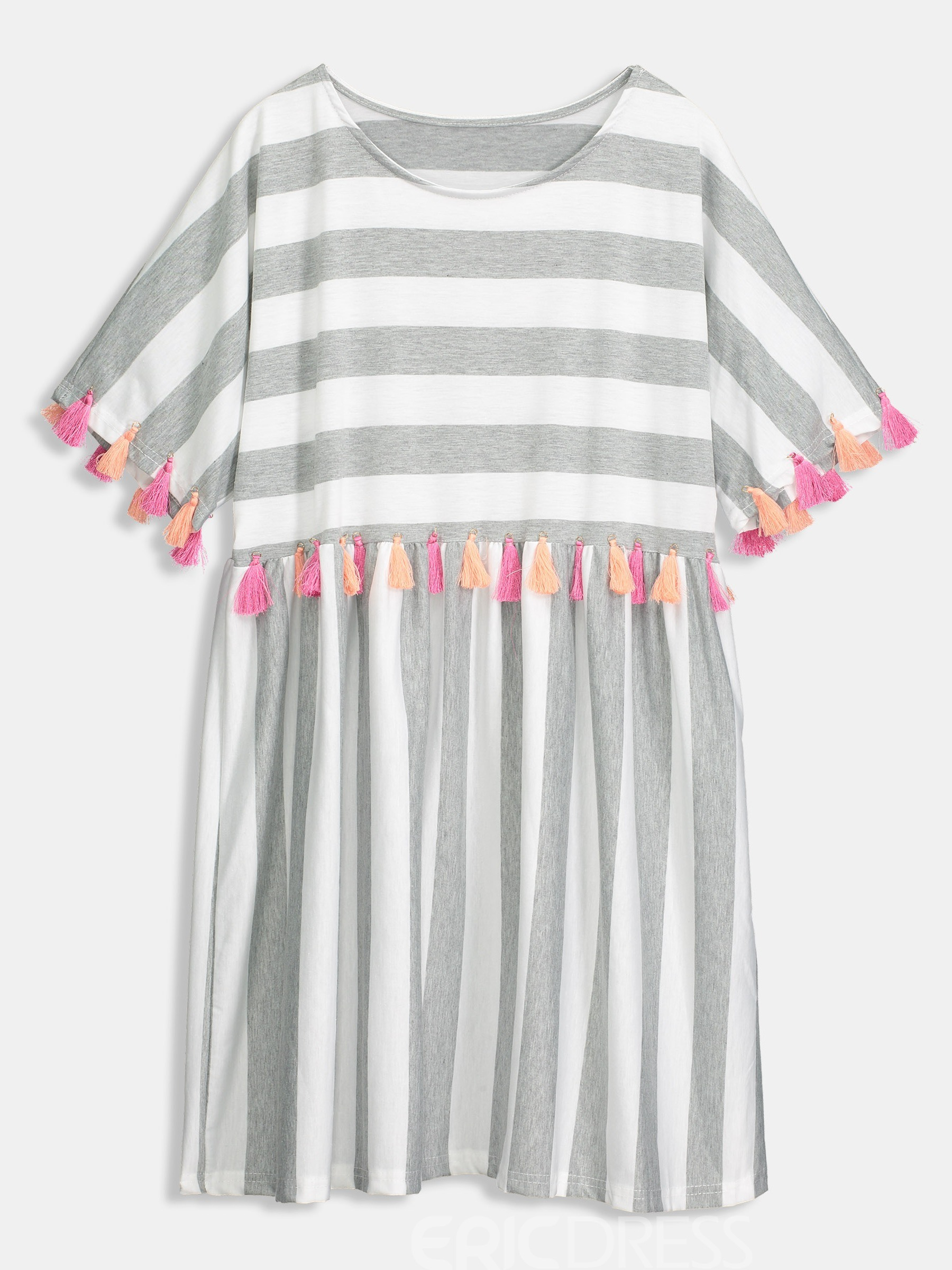 Ericdress Striped Tassel Casual Short Sleeve Round Neck Regular Dress