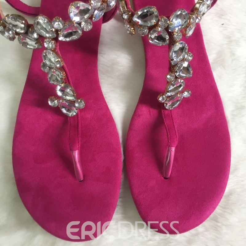 Eridress Thong Rhinestone Women's Flat Sandals