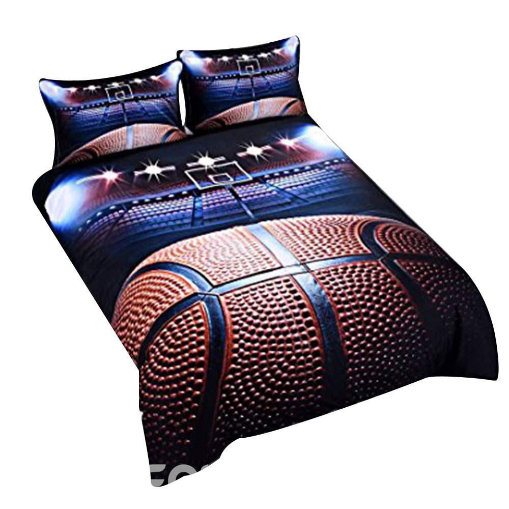 Vivilinen Shooting a Basketball in Empty Basketball Court Printed 3D 4-Piece Bedding Sets