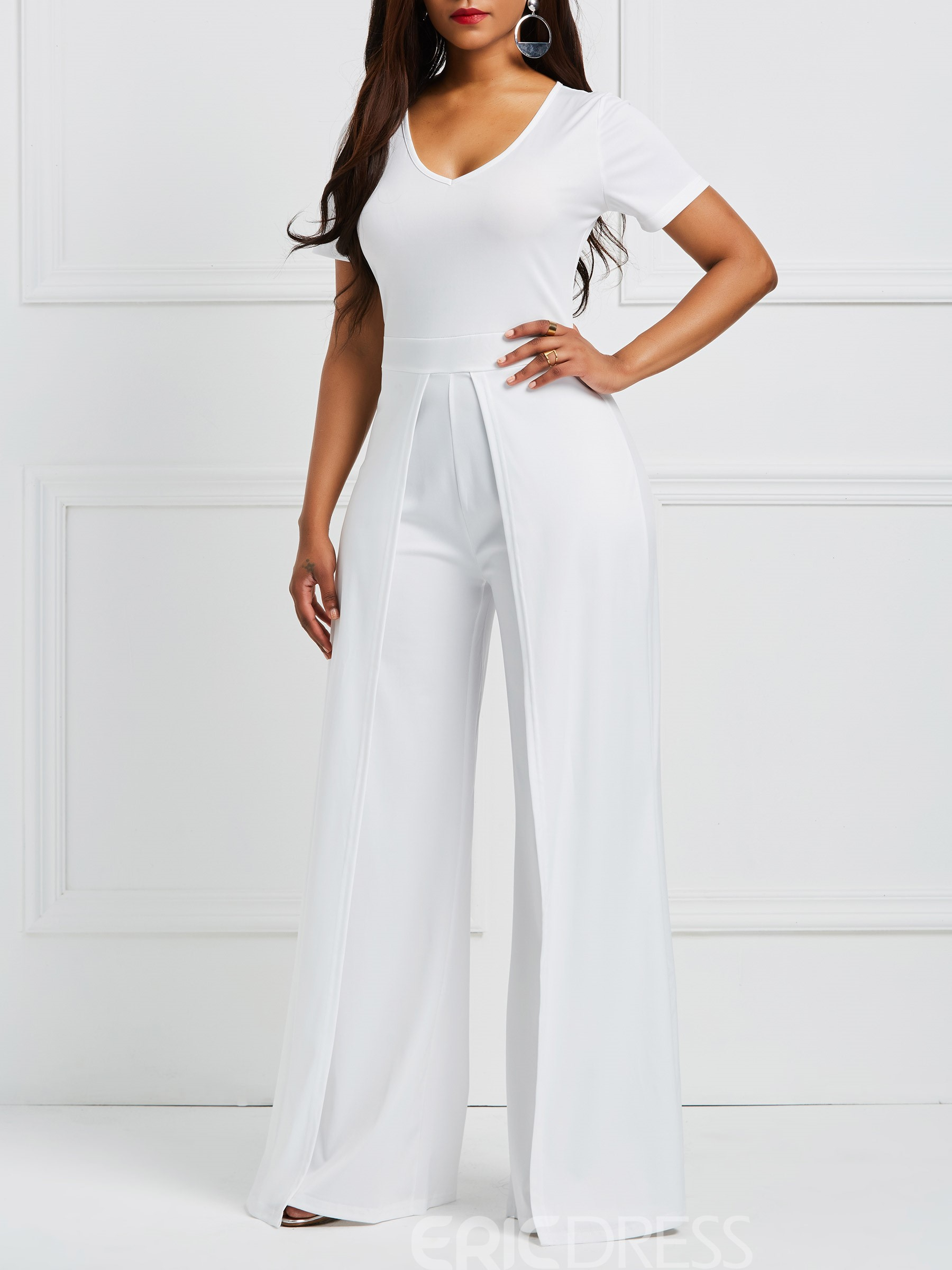 Ericdress Wide Leg V Neck Plain Women's Jumpsuit