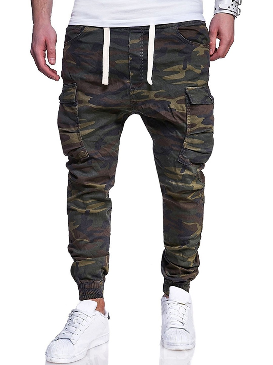 bee2ecb41fb33 Ericdress Camouflage Side Pocket Lace Up Mens Casual Cargo Pants ...