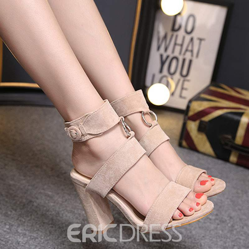 Ericdress Buckle Strappy High-Cut Chunky Sandals