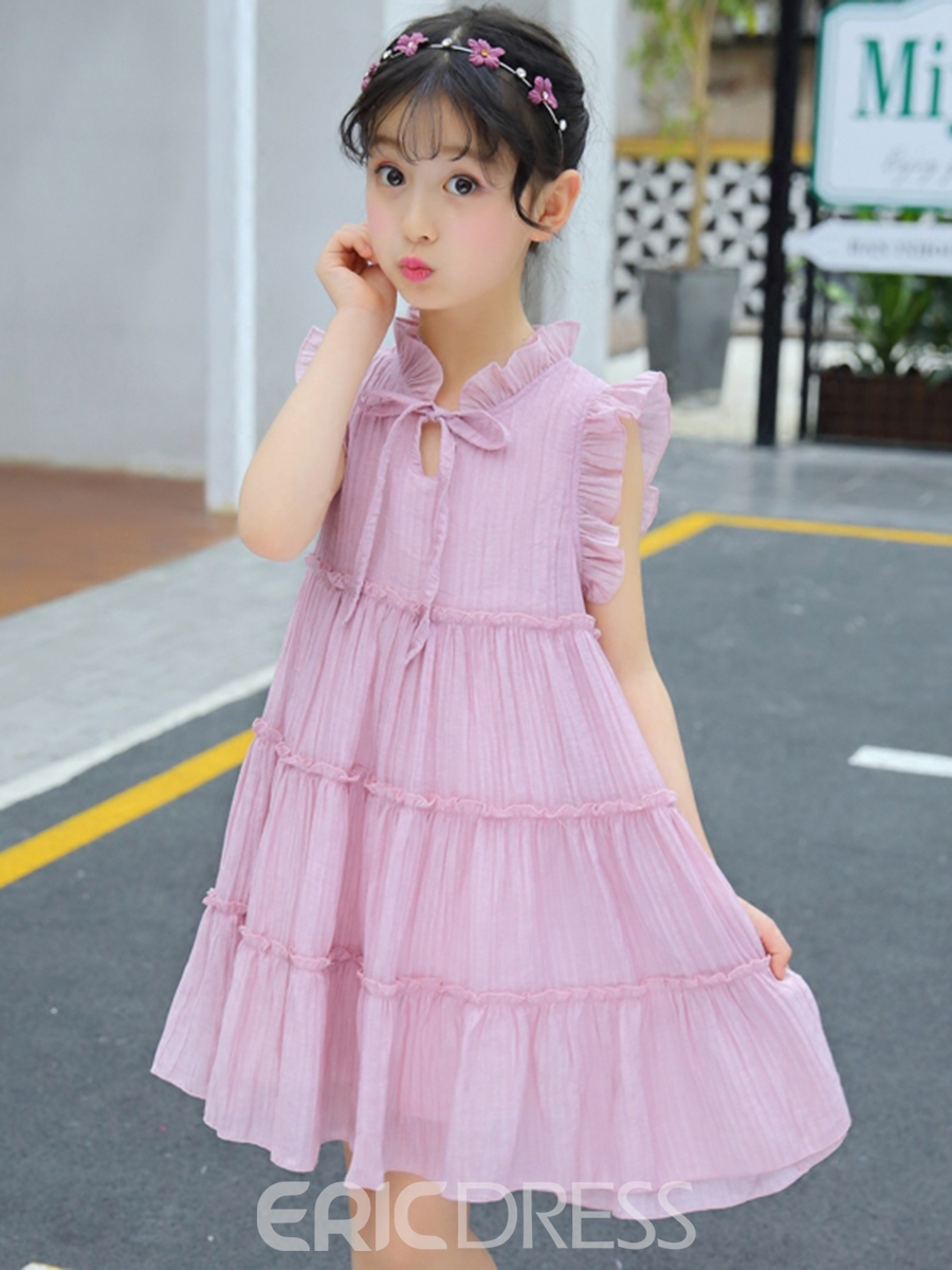 Ericdress Printed Cap Sleeve Lace Up A-Line Girl's Casual Dress