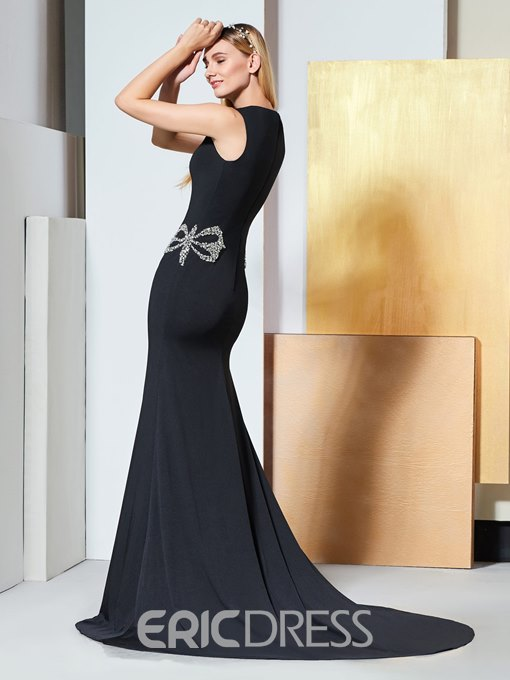 Ericdress Scoop Neck Beaded Black Mermaid Evening Dress