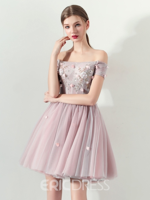 Ericdress Off The Shoulder Short A Line Homecoming Dress With Beadings