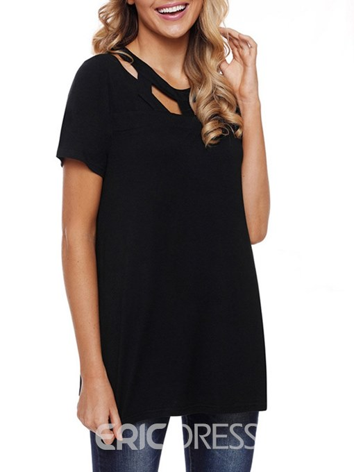 Ericdress Hollow Plain Scoop Casual Short Sleeve Womens T Shirt