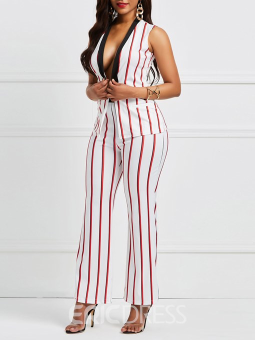 Ericdress Stripe V Neck Jacket and Pants Women's Suit