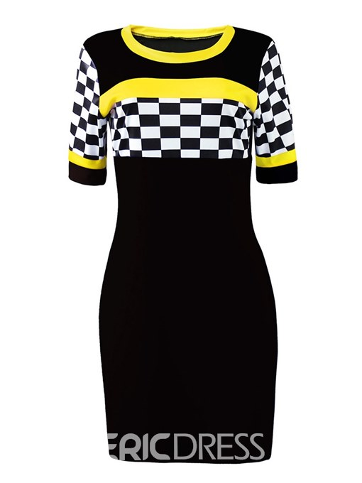 Ericdress Plaid Color Block Print Bodycon Dress