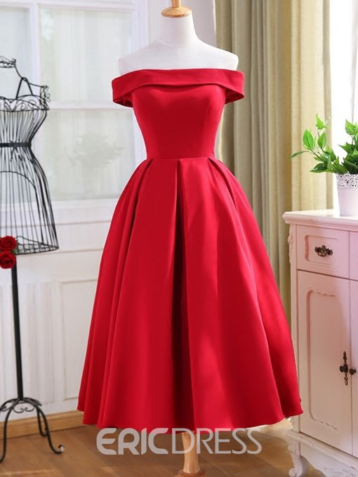 Ericdress Off The Shoulder Homecoming Red Dress