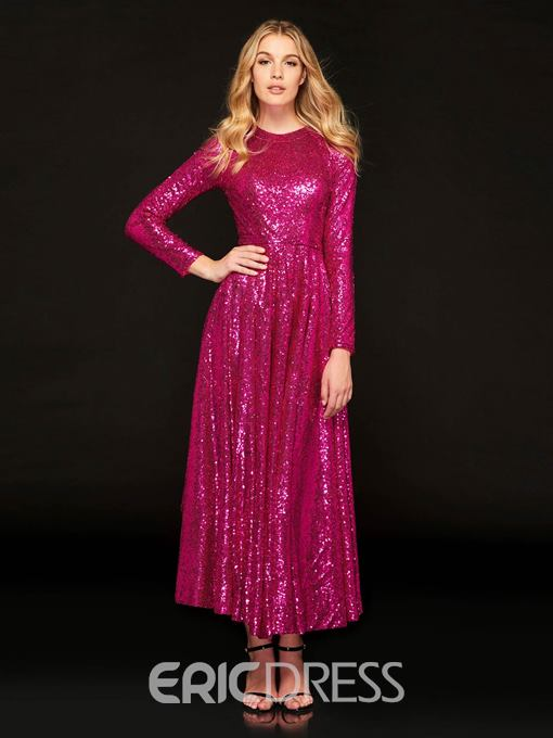 Ericdress A Line Long Sleeve Sequin Reflective Prom Dress